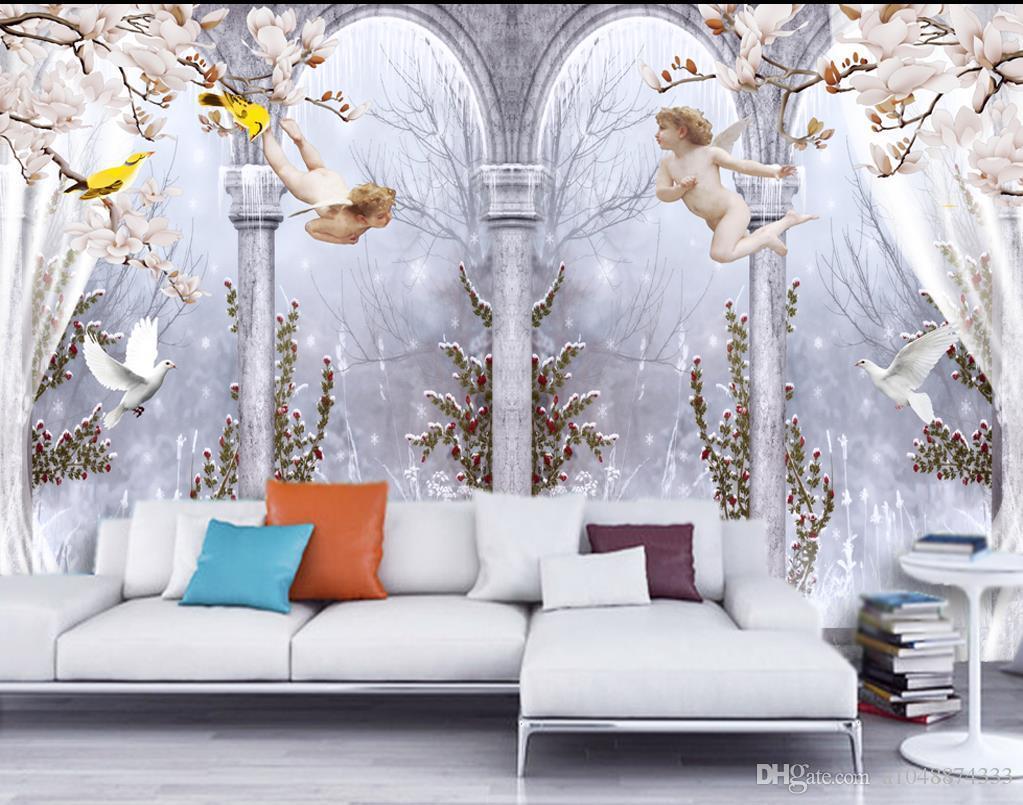 Toptan-özel fotoğraf duvar duvar kağıdı-dokunmamış duvar kağıdı Zarif melek Roma sütun güvercin 3D TV arka plan duvar odası duvar kağıdı