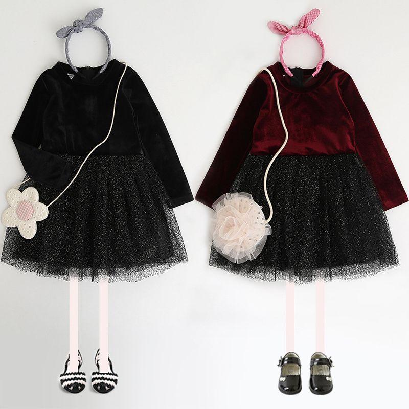 2018 Kids princess dresses Girls long sleeve dots splicing dress children tulle tutu dress Autumn new sweet girls clothing