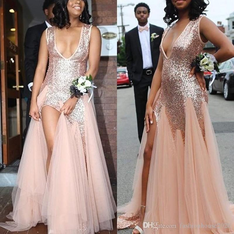 5bd47fc52b 2018 Hot Rose Gold Mermaid Long Sequins Prom Dresses Deep V Neck Sleeveless  Side Split African Party Sweep Train Tulle Sexy Evening Gowns Casual Prom  ...