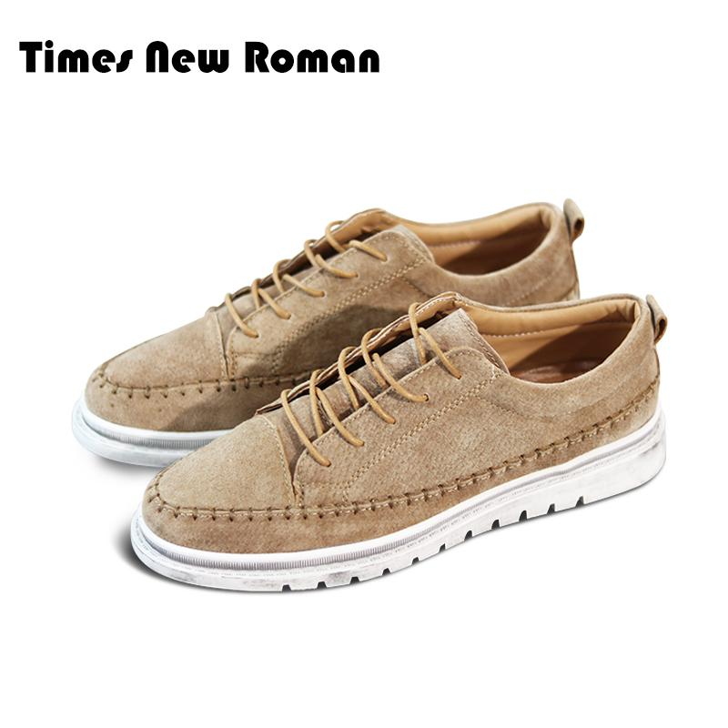 8a49eaeb2527 Times New Roman Autumn Casual Shoes Mens Leather Flats Lace-Up Shoes Simple  Stylish Male Sneakers Oxford For Men