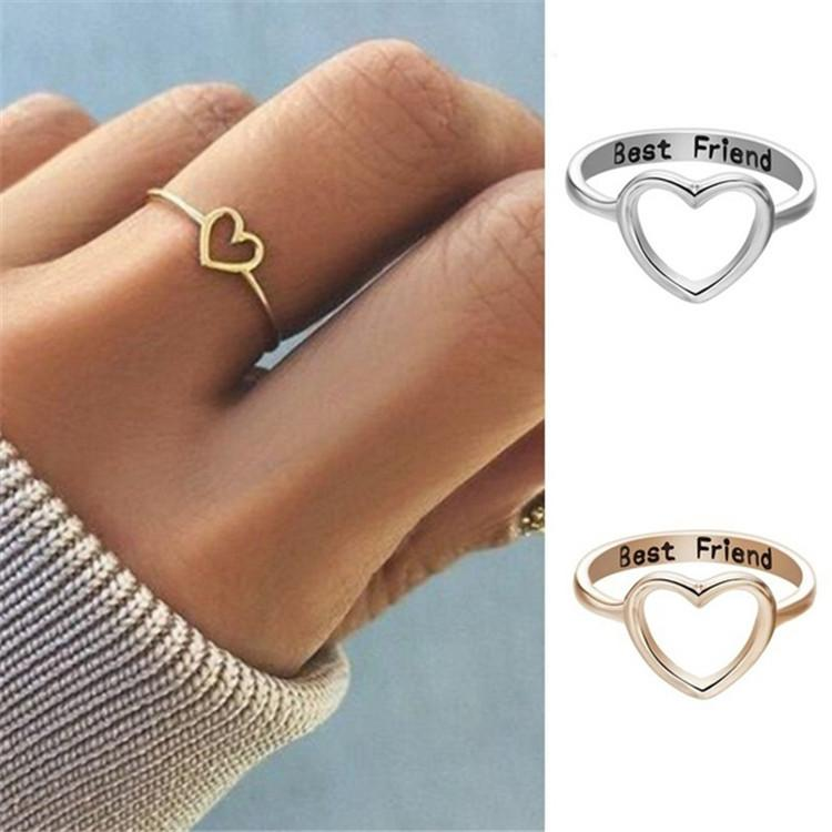 6582987a7e New Fashion Creative Engraved Letter ''Best Friend'' Heart-shaped Ring  Women Silver Ring