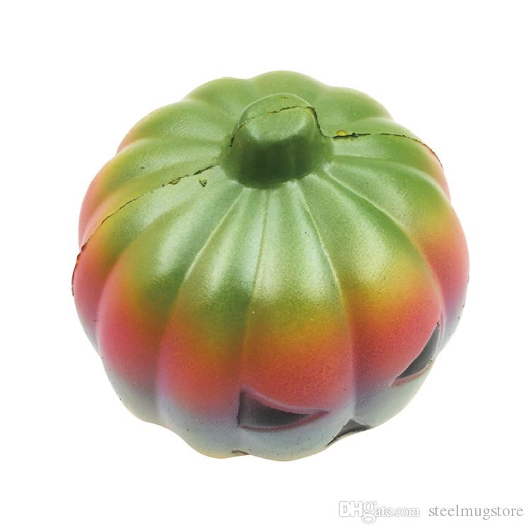 In Stock ! Fun Rainbow Pumpkin squishy jumbo slow rising kawaii 10cm Soft Squeeze Stress Reliever Kids Gift Novelty Items
