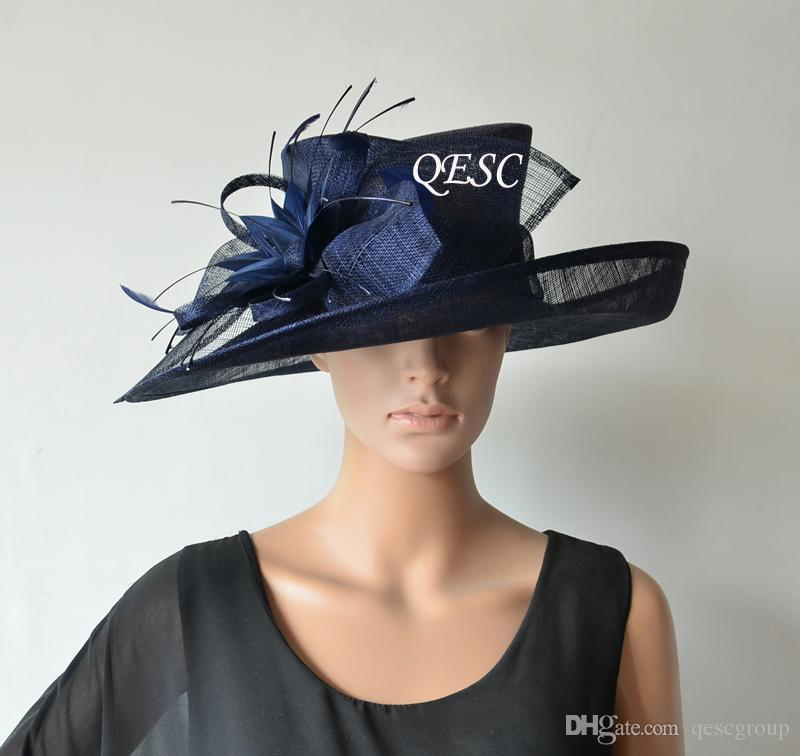 38cd75b9581 NEW Large Brim NAVY BLUE Sinamay Hat Wedding Hat Fascinator Fedora With Feather  Flower For Kentucky Derby