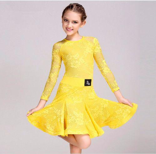 cb21858612677 2019 Green Yellow Pink White Children Kids Latin Dance Dress Girls Lace Salsa  Tango Cha Cha Ballroom Competition Dance Dress From Sherry_xiao1989, ...
