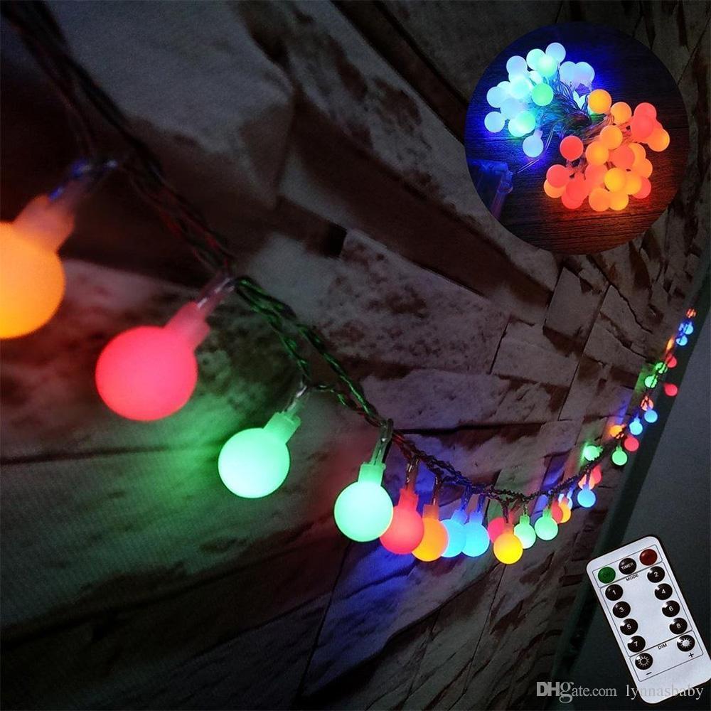 battery powered fairy lights 5m 50leds 8 modes christmas lights string ball for holiday christmas party wedding festoon lights battery powered fairy lights