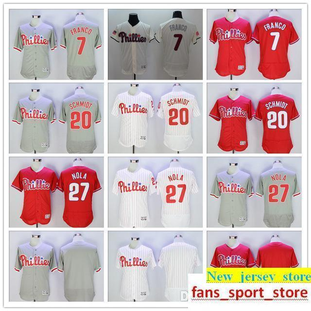 8af624798 2019 2019 Mens Phillies 7 Maikel Franco 20 Mike Schmidt 27 Aaron Nola Baseball  Jersey Color Gray Red White Blank 100% Stitched Jersey Top Quality From ...