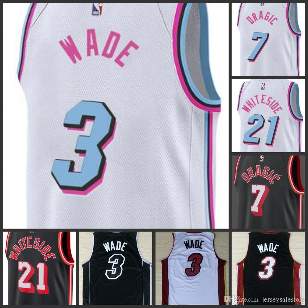 84fd8d318 2018 Ncaa College 2018 New Miami Mens Heat Jerseys  3 Dwyane Wade 7 Goran  Dragic Jersey 21 Hassan Whiteside The City Stitched University From  Jerseysus
