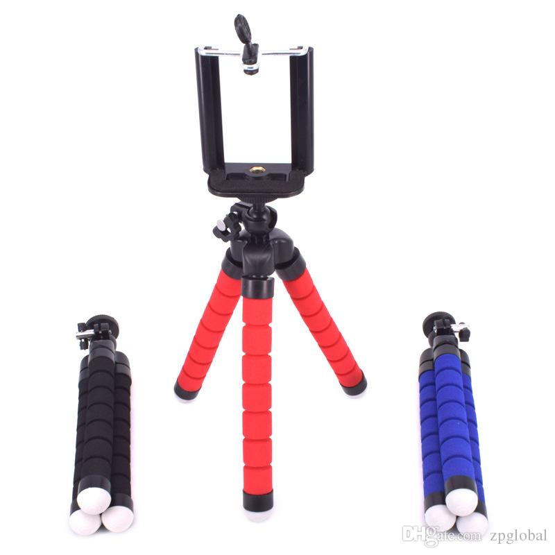 Flexible Tripod Holder For Cell Phone Car Camera Gopro Universal Mini Octopus Sponge Stand Bracket Selfie Monopod With Mount Clip