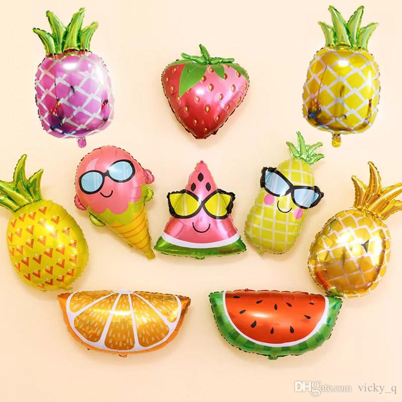 Greeting Cards & Party Supply 6 Types Fruit Shape Foil Helium Balloons Fruits Balloons Birthday Summer Party