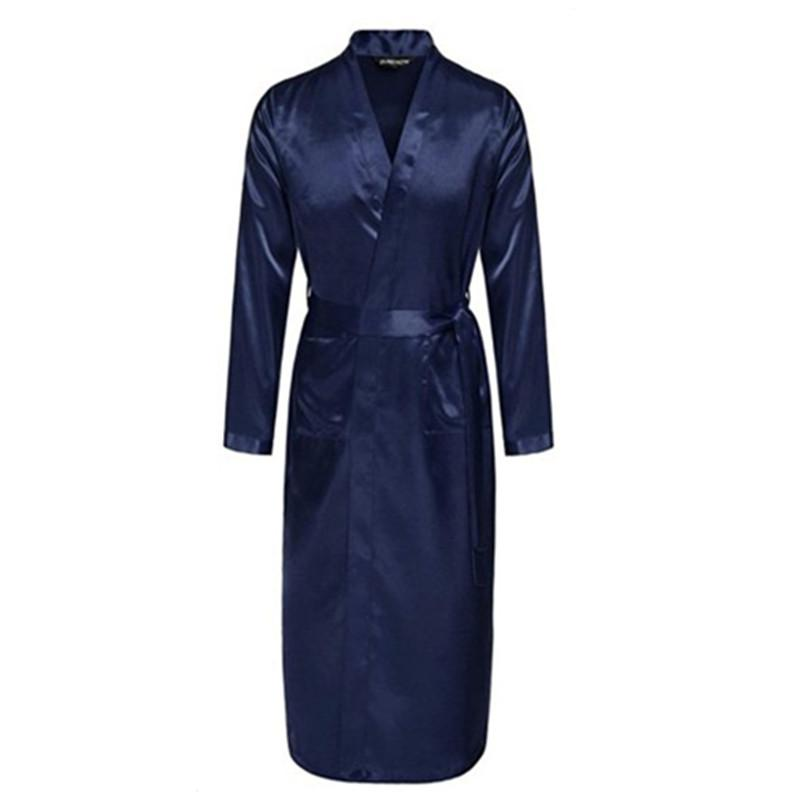 Navy Blue Chinese Men Silk Rayon Robe Summer Casual Sleepwear V-Neck ... b97d0d554