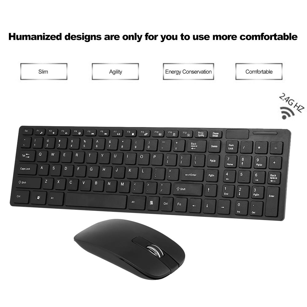 2018 Portable Slim 2 4g Wireless Keyboard And Mouse Combo Computer Plug Play For Laptop Pc Desktop Office Lol From Theresal