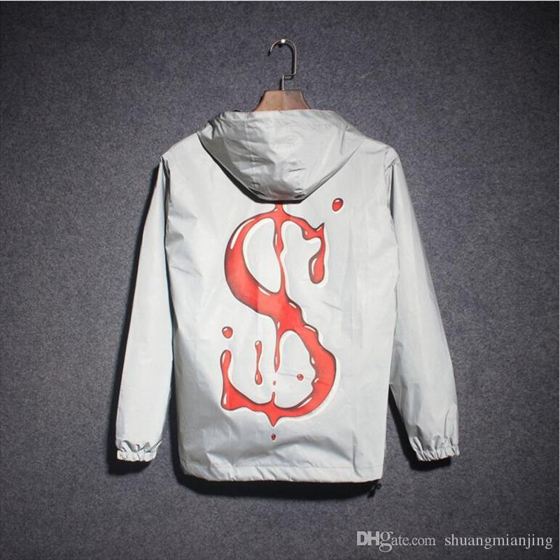 New 2018 Summer Jackets Men Hip Hop 3m Reflective Jacket Men&Women Fashion Reflectives Windbreaker Hooded Coat S-XXL
