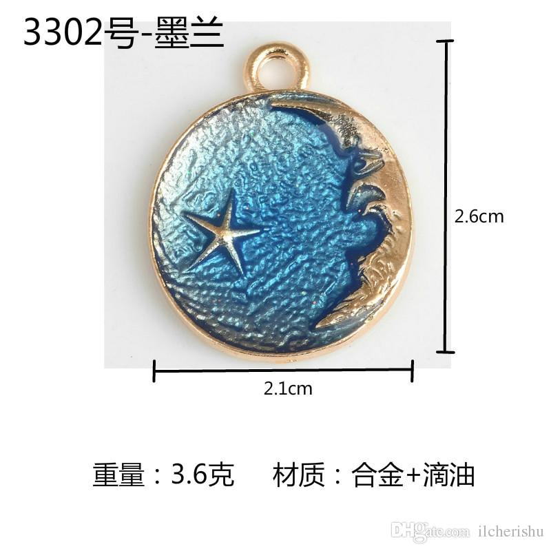Mix Fashion enamel moon star charms, metal round tag pendants jewelry dangle diy earring findings accessories boutique trinket bijoux