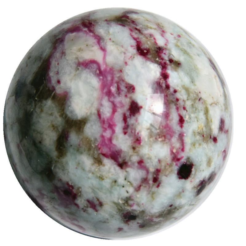 DingSheng 50-55mm High quality natural rock red tourmaline ball healing energy magic Crystal quartz stone Sphere