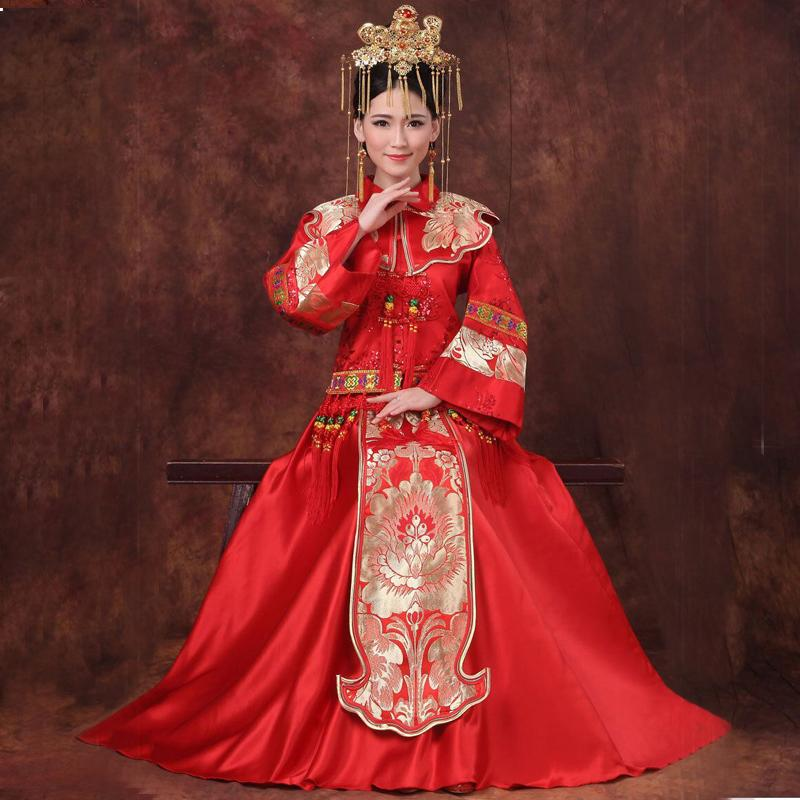 2019 new red traditional chinese wedding dress qipao