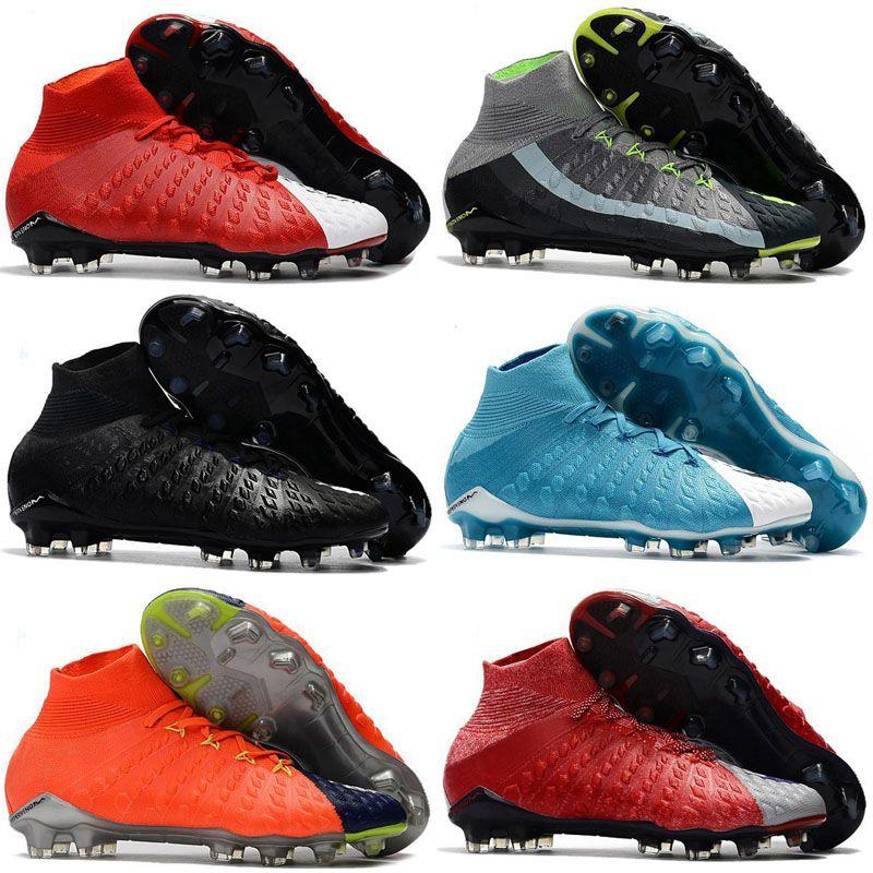 uk availability 553ca 5c2e8 2018 New mens soccer cleats Hypervenom Phantom III EA Sports FG soccer  shoes soft ground football boots cheap Rising Fast Pack neymar boots
