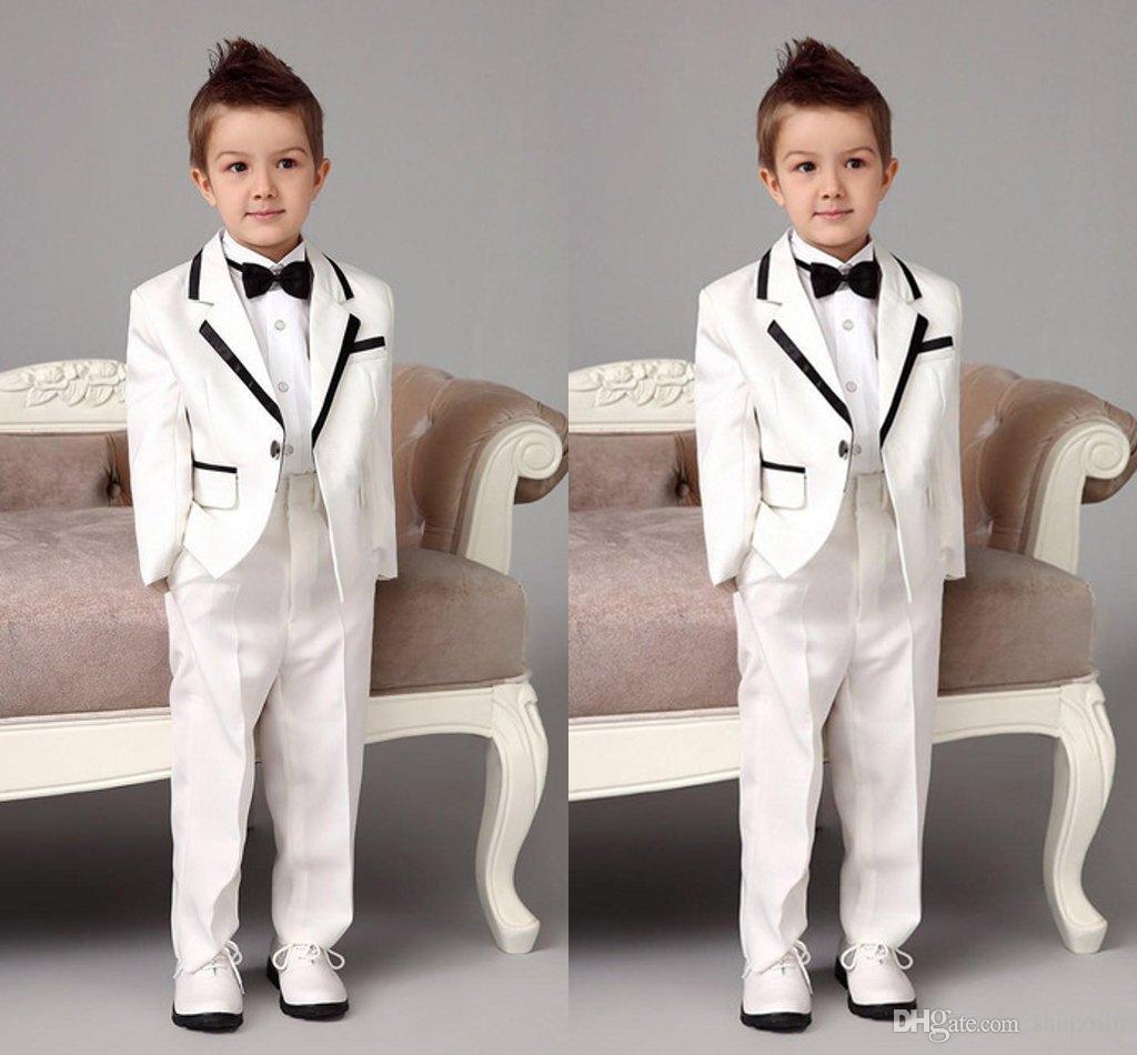 New White Notch Lapel Children Suits For Wedding Handsome Boy ... d057a0e89d
