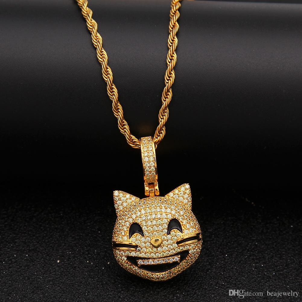 Iced Out Custom Happy Cat Face Pendant Necklace Bling Bling Cubic Zircon Men's Hip hop Jewelry