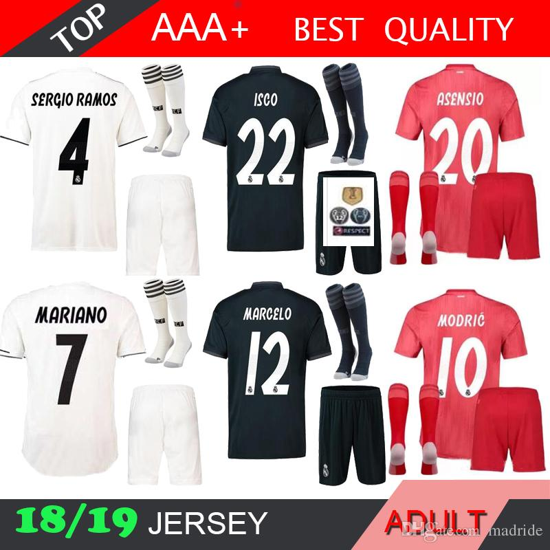 more photos cdcf3 0d156 MARIANO ASENSIO 18 19 Real madrid KROOS men kit soccer jersey 3RD adult RED  sock RONALDO BALE RAMOS BENZEMA 2018 2019 football shirts