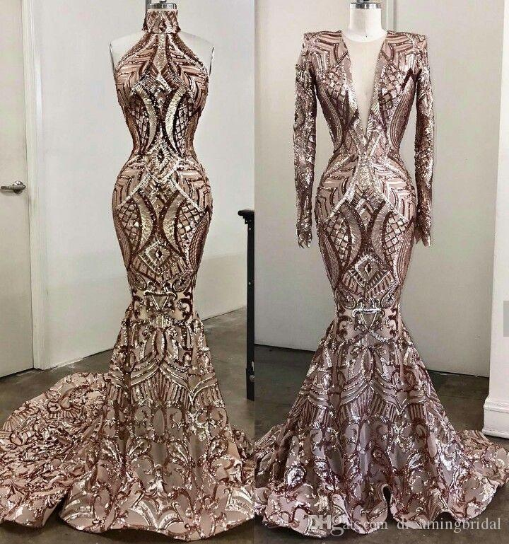 7dda7724ed 2018 New Mermaid Evening Dresses Two Style High Neck Sexy African Prom Gowns  Vestidos Special Occasion Dresses Formal Party Dress Funky Prom Dresses Jj  Prom ...