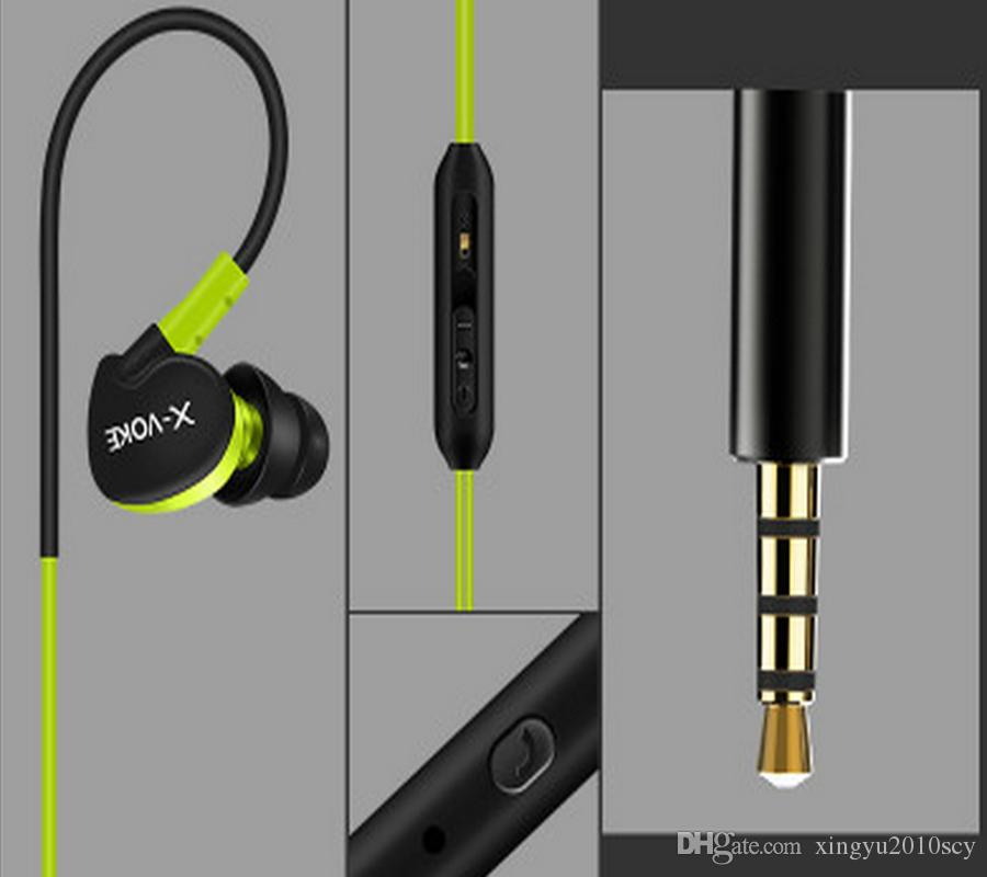 Heavy bass Sport Music Wired Ear Hook Stereo Earphones Headset Noise reduction Headphones With Mic for Cell Phone MP3 MP4,1.25m wire