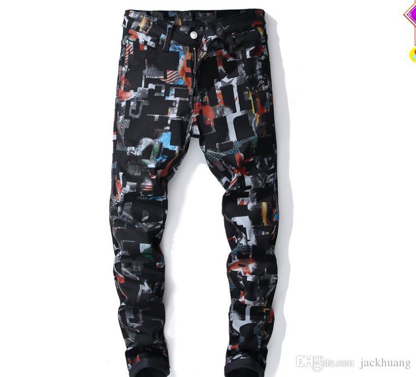 Novo Vento Europeu e Americano de Impressão Digital Calças Moda dos homens Magro Estiramento Floral Pintado Jeans Jeans Alta Qulaity # 5621