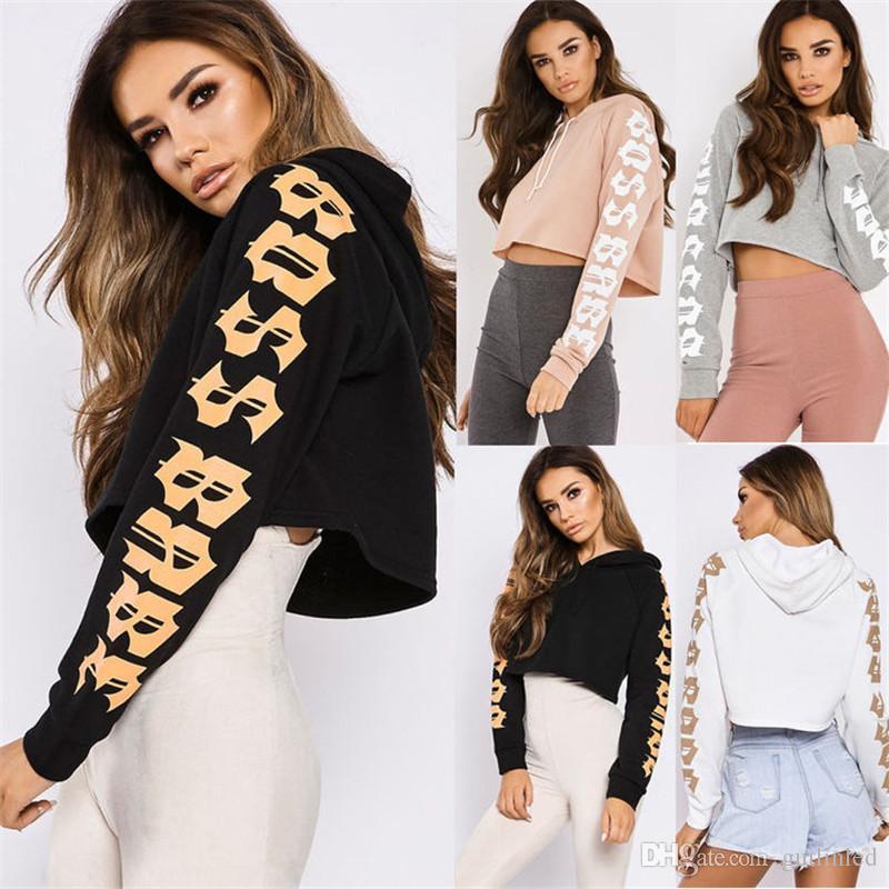 13f33e1b9165 Fashion Sexy Crop Tops White Black Grey Pink Women Hoodies With ...
