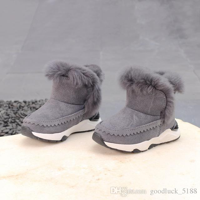 d4320e1d6de5c Russia Winter Warm Baby Boots Genuine Leather Children Snow Boots For Girls  Plush Ankle Boots Boys Waterproof Non Slip Shoes Girls Brown Boots Boys  Boots ...