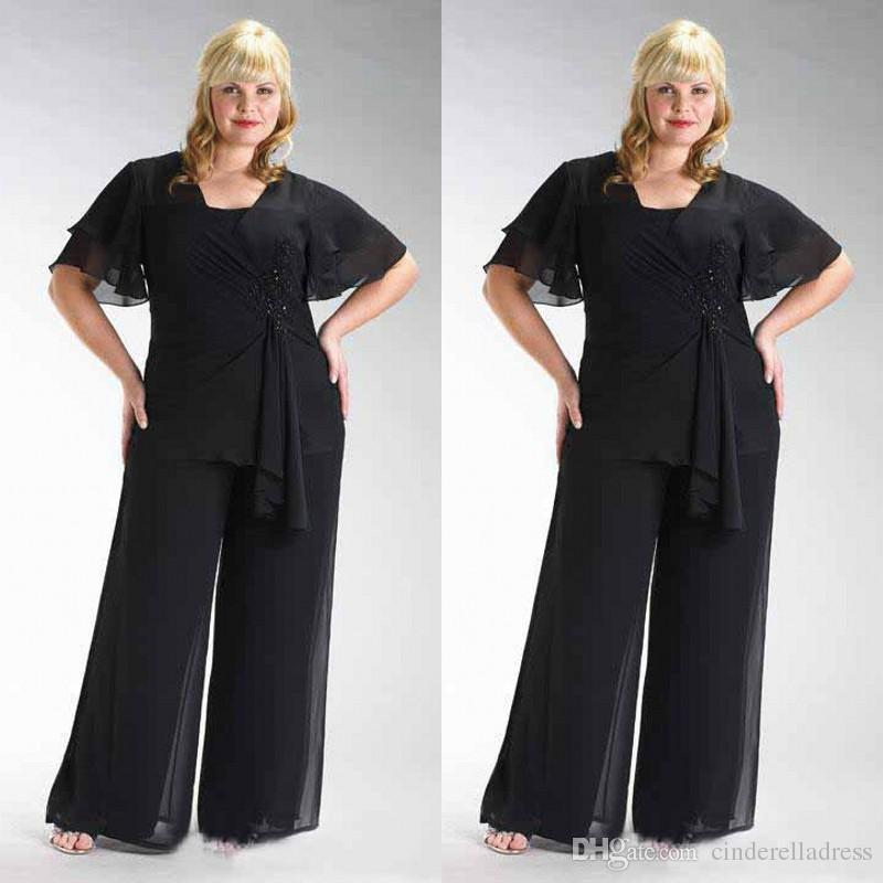 Popular 2018 Plus Size Black Chiffon Short Sleeve Mother Of The Bride Two Pieces Pant Suits Beaded Waist Custom Made