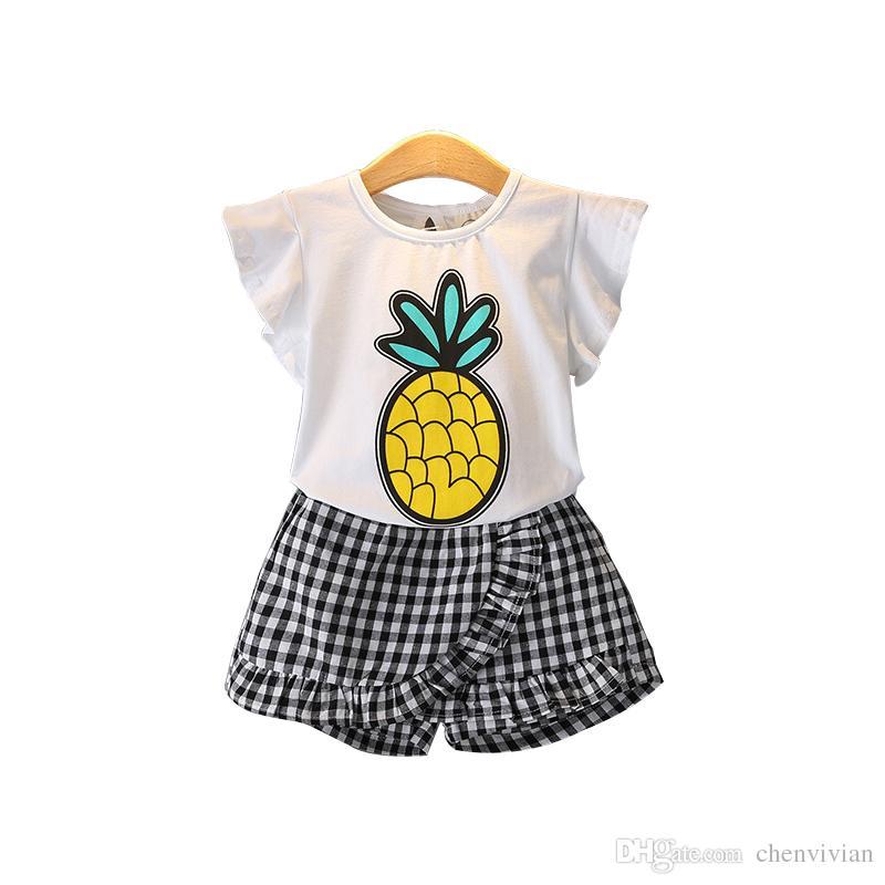 0ce90f4c4e2 2019 2018 Summer Girls Print Cartoon Sport Clothes Set T Shirt+Plaid Shorts  Kid School Cute Princess Clothes Set Kid Clothes Set From Chenvivian