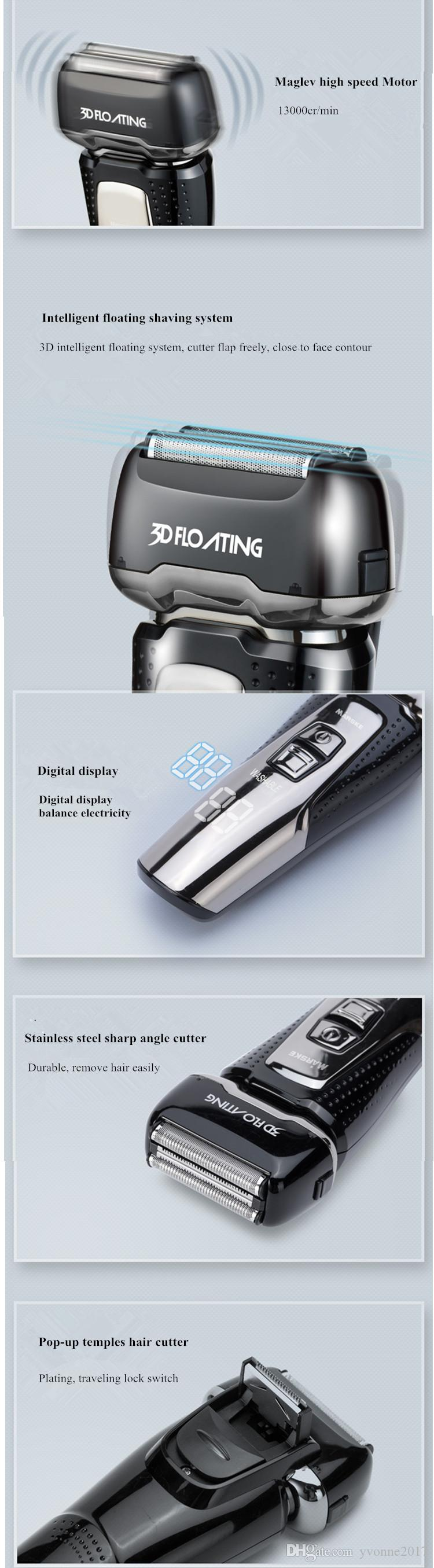 Rechargeable EU plug electric Intelligent Maglev stainless steel men shaver temples hair cutter whole machine washable
