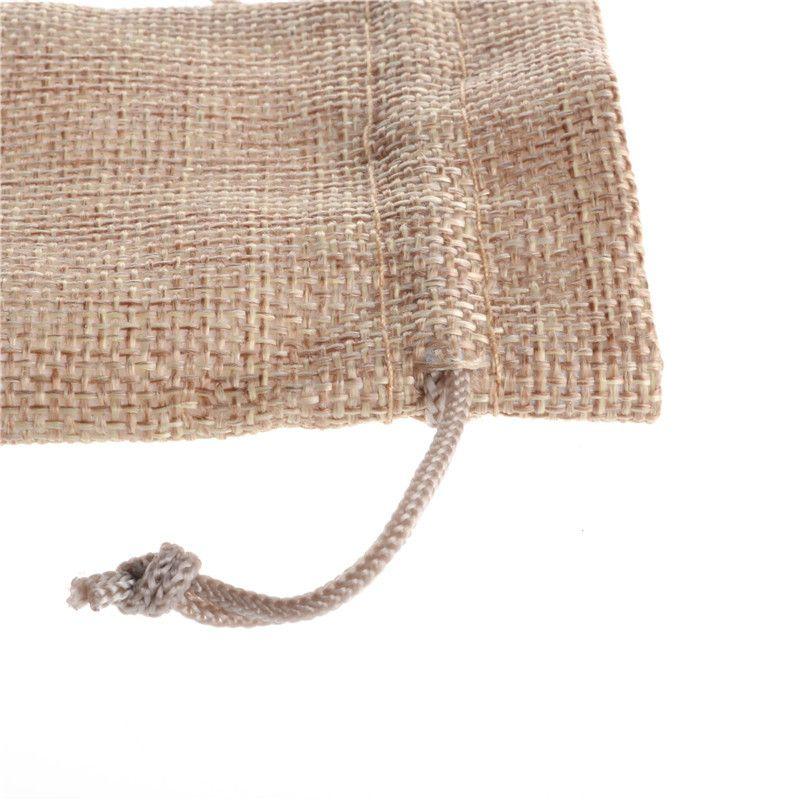 7 * 9 cm 50 pz / lotto Borsa di Iuta Naturale Piccolo Sacchetto del Regalo di Incenso di Stoccaggio Sacchetto di Lino Favore Fascino Imballaggio Dei Monili Borse H0255