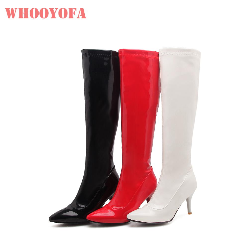 special section terrific value choose clearance Sale Brand New Winter Fashion Black White Women Knee High Boots Spike Heels  Lady stripper Shoes W3-22 Plus Big Size 10 32 45 48