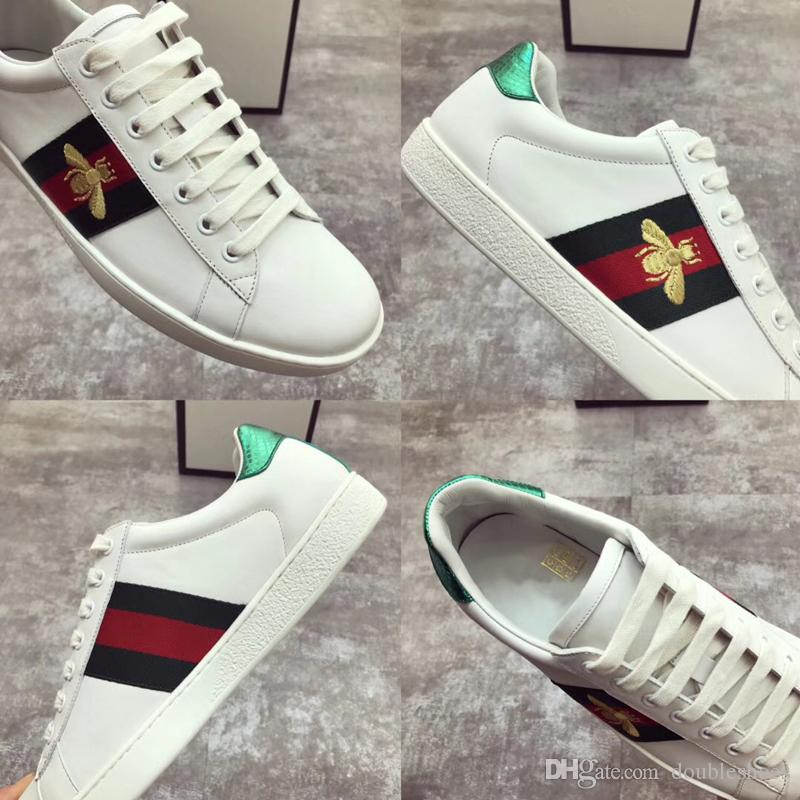 0d706eab9 Designer Shoes Embroidery Bee Premium Leather Casual Shoes Personality And  Fashion Flat White Shoes Designer Shoes White Shoes From Doubleshoes, ...