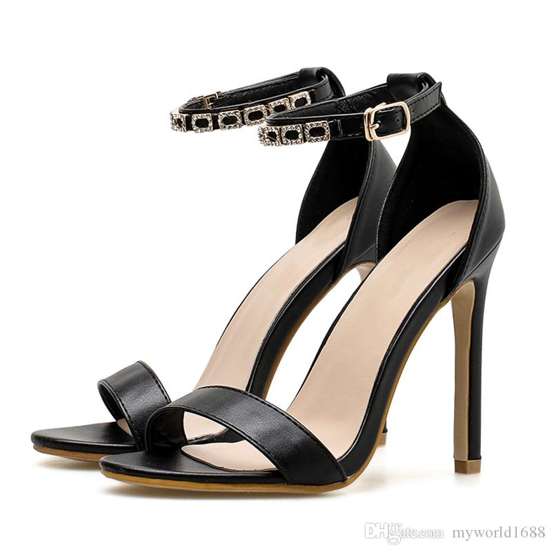 b568d17faf4 Sexy Woman Sandals Thin High Heels 11cm Gladiator Crystal Buckle Strappy Open  Toe Fashion Summer Ladies Party Shoes Jelly Sandals Platform Sandals From  ...