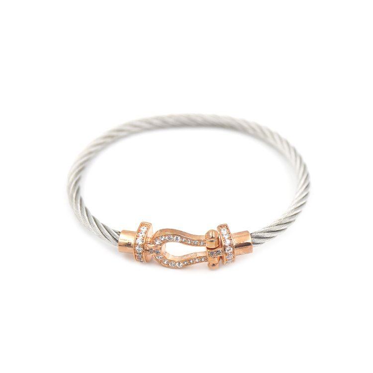 Venta caliente 316L de acero de titanio en forma de U doble con diamante y alambre de acero del brazalete de la marca para las mujeres y hombre joyería regalo PS5256A