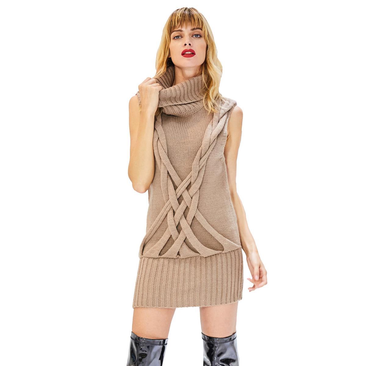 9a9a63bcdf96 2018 Winter Dresses Women Knitted Sleeveless Turtleneck Dress Khaki Warm  Knitwear Casual Office High Neck Sweater Dress Black Dresses Long Dresses  From ...