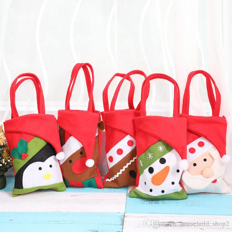 2018 Christmas Gift Bags For Candy Christmas Tree Ornament Decoration Santa  Claus Snowman Deer Pattern Bags Christmas Decorations Items Christmas ... f68f3a445d3df