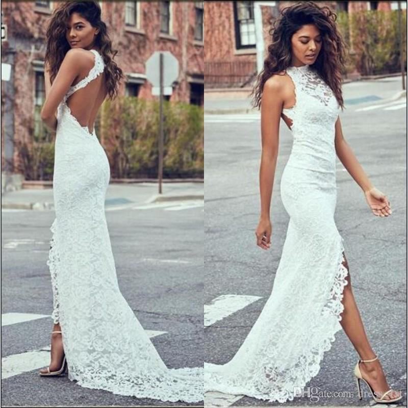 13b945ef92f Sexy Sheath Beach Wedding Dress Halter Neckline Fitted Side Split Open Back  Court Train Ivory Color Full Lace Bridal Gowns Elegant Wedding Dresses  Hippie ...