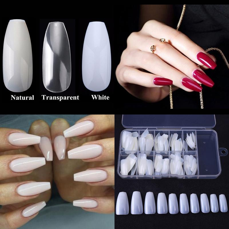 1 Box Nail Tips Ballerina Nails French Acrylic False Nail Art Tips ...