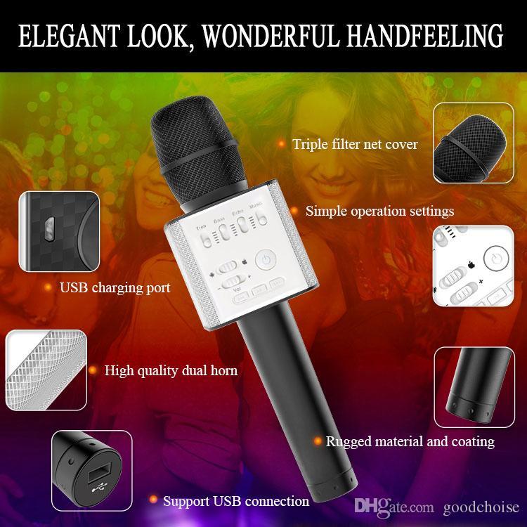 Q9 04 sem fio Karaoke Microfone Alto-falante Bluetooth 2 em 1 Handheld Cante Gravação KTV Player Portable para iOS Android