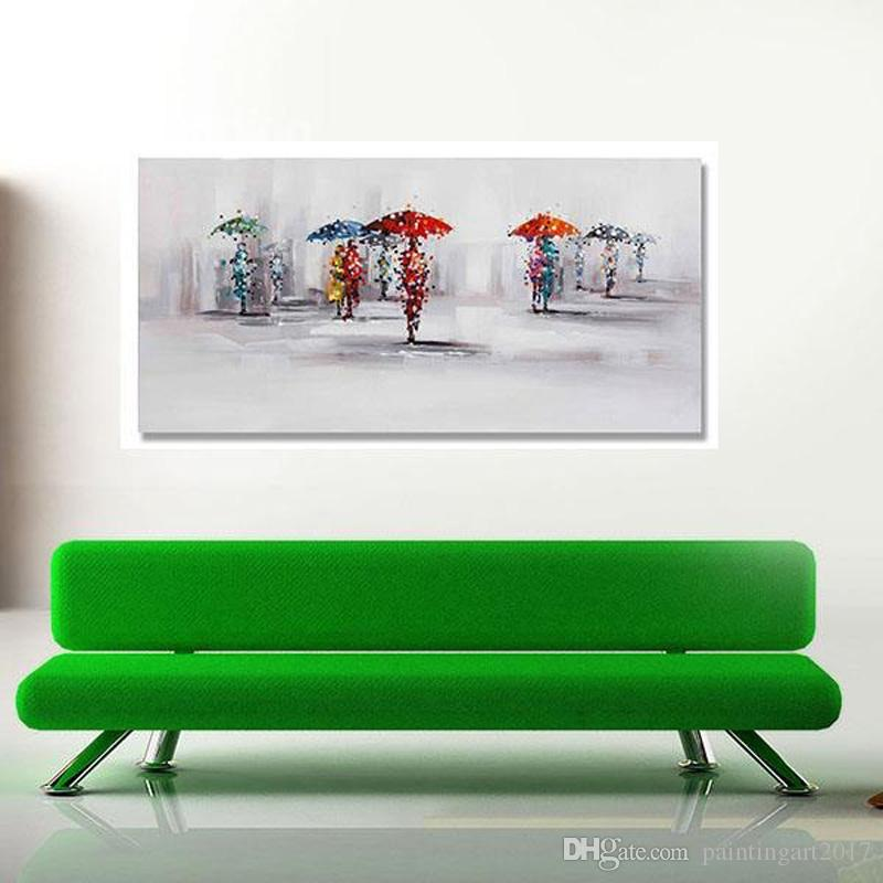 Handpainted Landscape Oil Painting On Canvas Palette Knife Wall Picture Lovers in the Rain picture Home Decoration Wall Decor