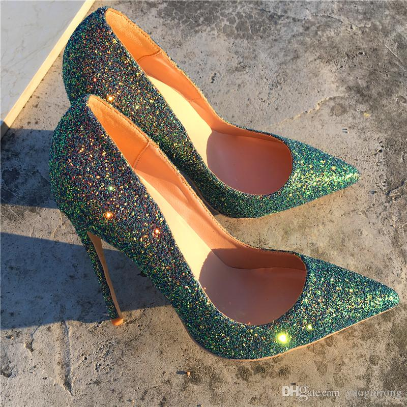 dd483bef41 New Style Magic Green Sequins, Fine With Sharp Pointed Shoes, Fashionable Sexy  Sexy Women'S Shoes, Customized 33 45 Yards. Wedges Shoes White Shoes From  ...