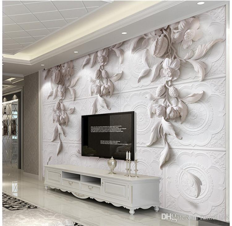 custom 3d wall murals wallpaper european style wall painting whitecustom 3d wall murals wallpaper european style wall painting white flowers embossed 3d tv backdrop papel de parede 3d home decor widescreen computer