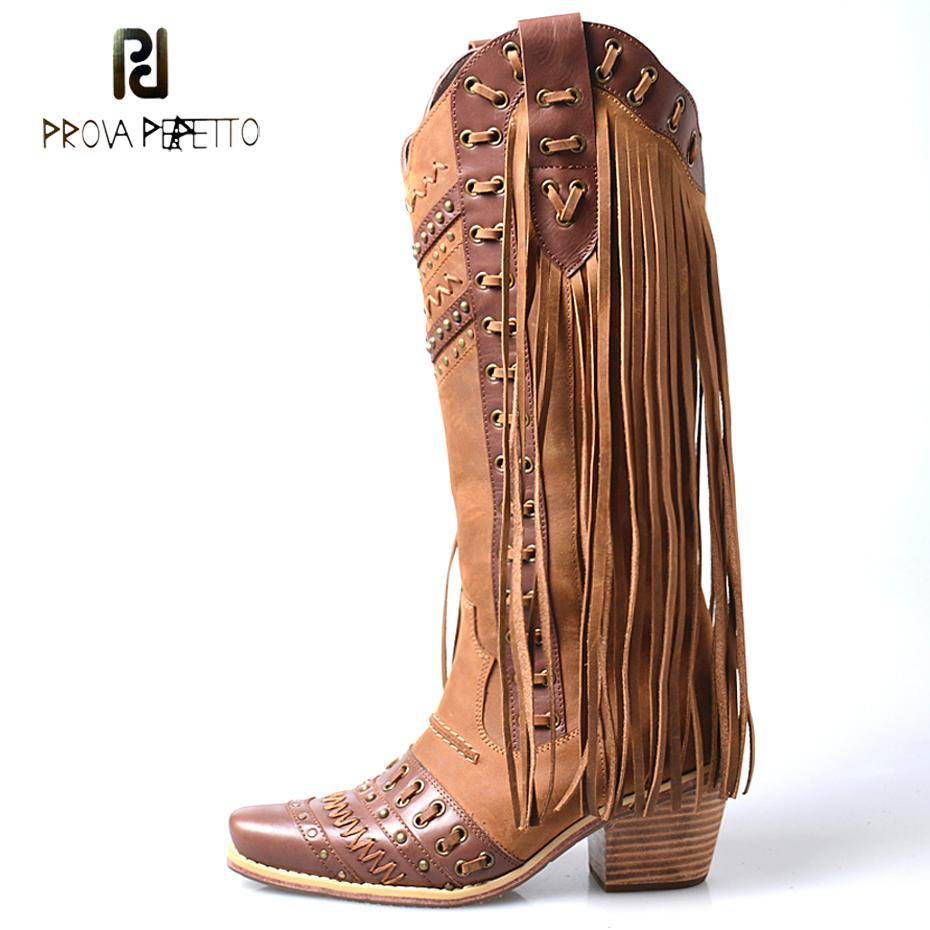66e33fc6e36a7 Prova Perfetto hochwertige handgefertigte klobige Ferse Kuh Leder Cowboy  Kniehohe Stiefel Mischfarbe Fransen Ritter Stiefel Mujer Zapatos