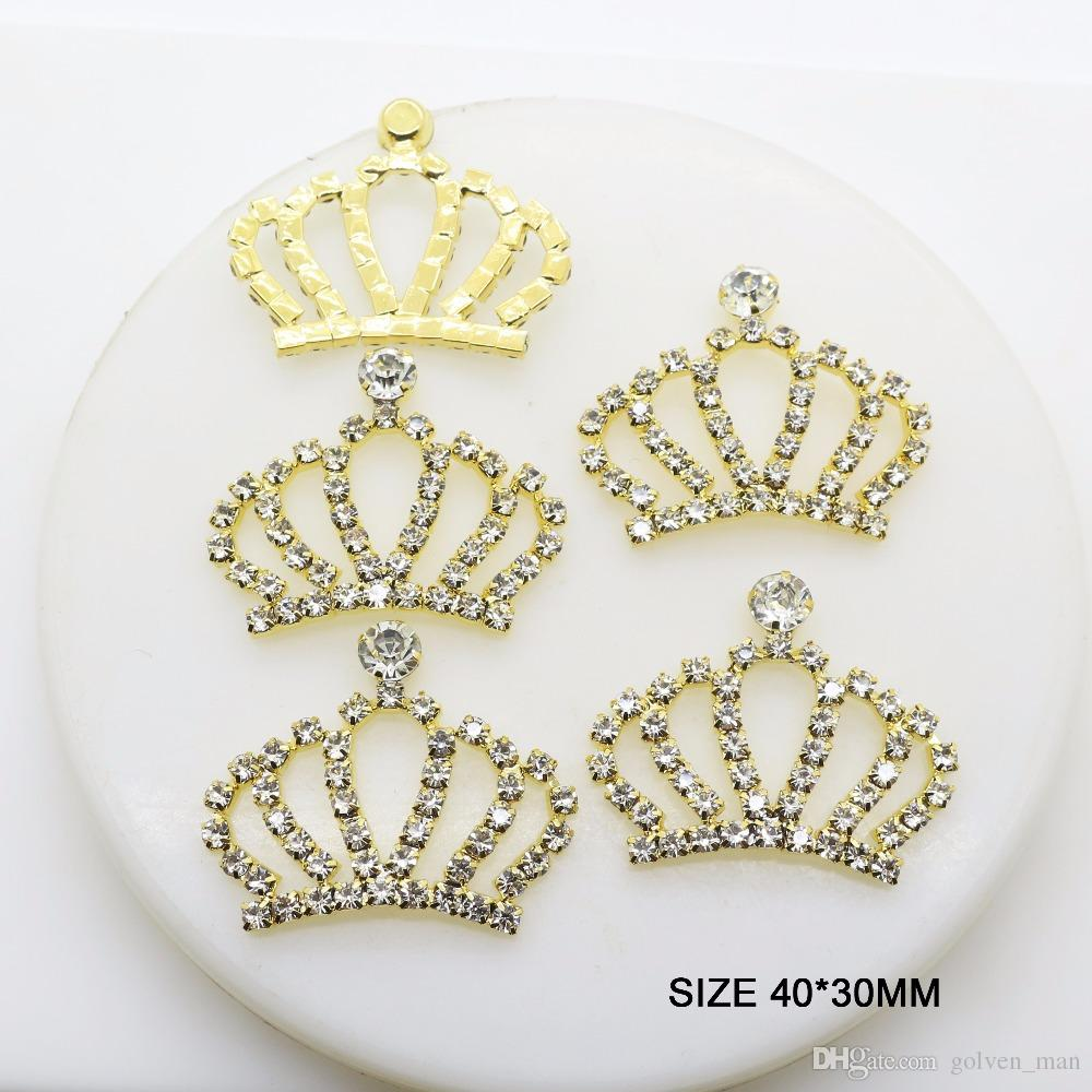 20 teile / satz 18mm Gold Diamant Kaiserkrone Taste Snap Flatback Tasten Kristall für Hochzeit Bouquet Kind Haar Band Dekorative