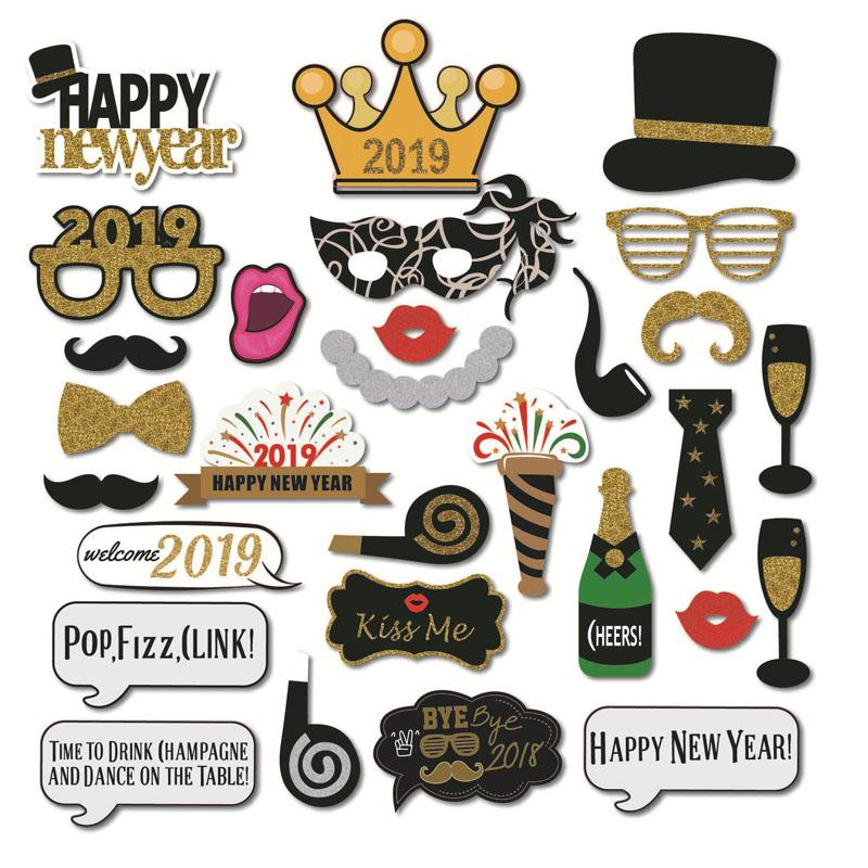2019 2019 Happy New Year Eve Photo Booth Props Decor Hats Glasses