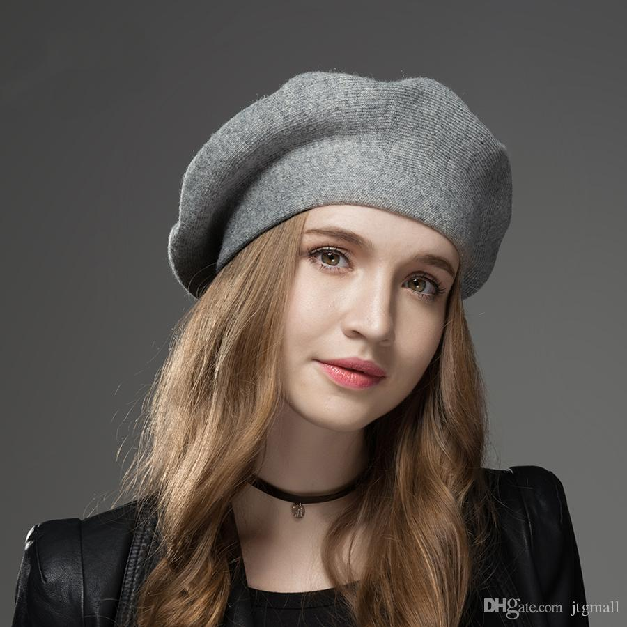 22ac9bbc Winter Hat Berets New Wool Cashmere Womens Warm Casual High Quality ...