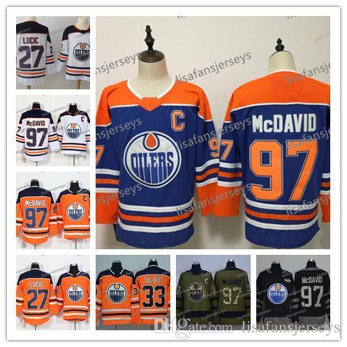 info for 62b8d e8881 Mens Edmonton Oilers Hockey Jersey 97 Connor McDavid 27 Milan Lucic 33 Cam  Talbot 2018 New Brand all Sewn Cheap Ice Hockey Jerseys