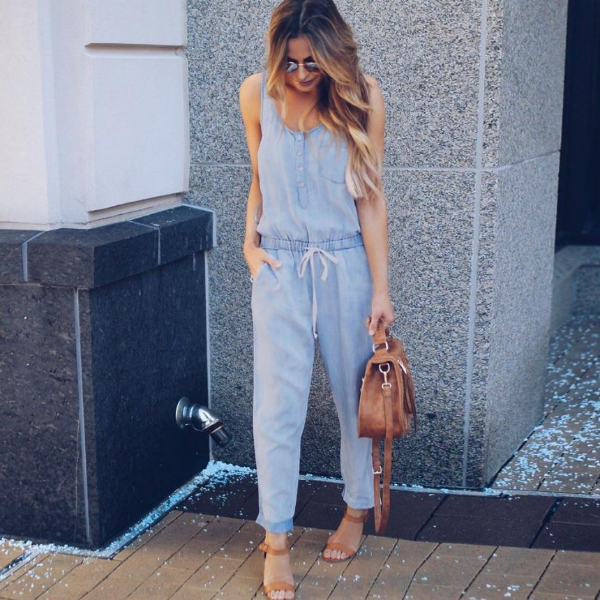 a5b34da64e3 Wholesale Summer 2018 Womens Wide Leg Jumpsuits Women Holiday Playsuit  Jeans Demin Elastic Waist Strappy Long Beach Jumpsuit Online with   49.44 Piece on ...